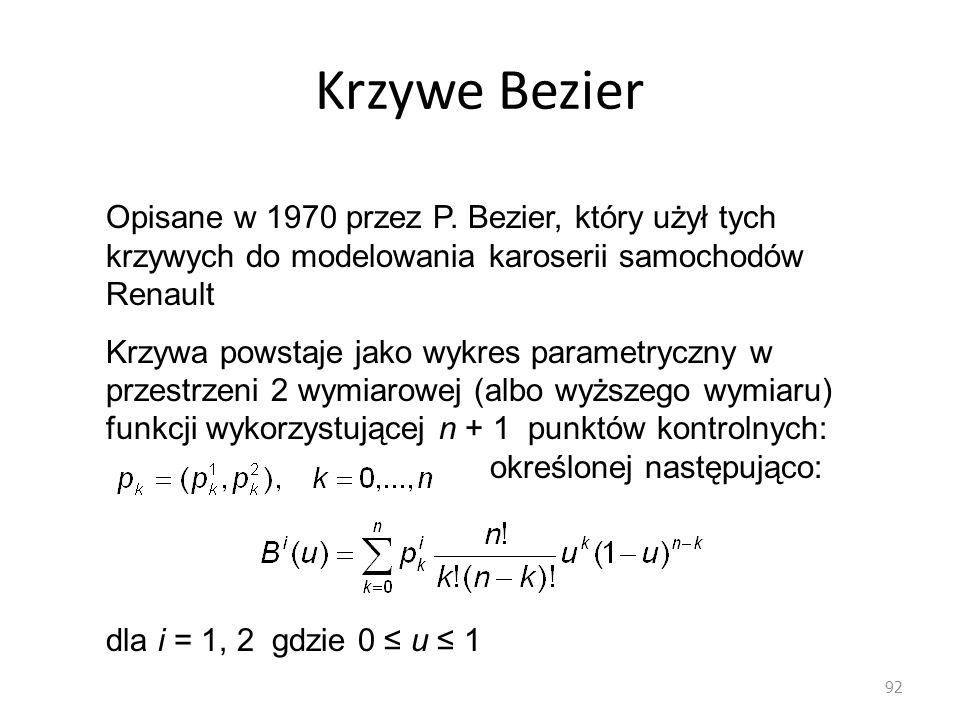 Krzywe Bezier 92 Opisane w 1970 przez P. Bezier, który użył tych krzywych do modelowania karoserii samochodów Renault Krzywa powstaje jako wykres para