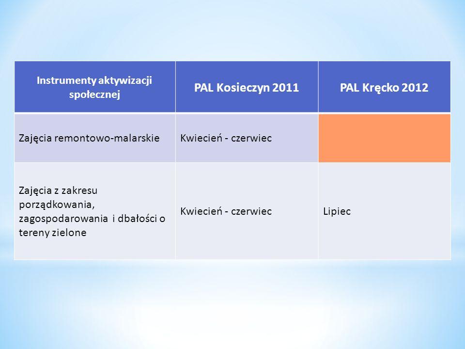 Instrumenty aktywizacji społecznej PAL Kosieczyn 2011PAL Kręcko 2012 Zajęcia remontowo-malarskieKwiecień - czerwiec Zajęcia z zakresu porządkowania, z