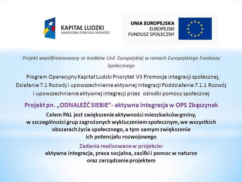 Projekt współfinansowany ze środków Unii Europejskiej w ramach Europejskiego Funduszu Społecznego Program Operacyjny Kapitał Ludzki Priorytet VII Prom