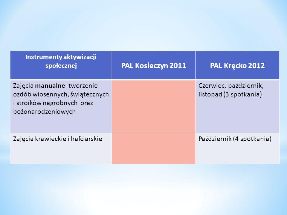 Instrumenty aktywizacji społecznej PAL Kosieczyn 2011PAL Kręcko 2012 Zajęcia manualne -tworzenie ozdób wiosennych, świątecznych i stroików nagrobnych