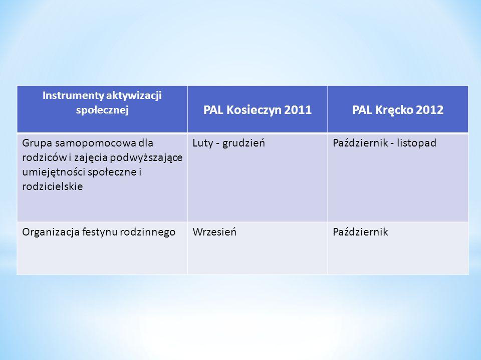 Instrumenty aktywizacji społecznej PAL Kosieczyn 2011PAL Kręcko 2012 Grupa samopomocowa dla rodziców i zajęcia podwyższające umiejętności społeczne i