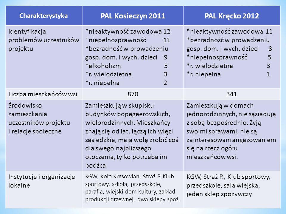 Charakterystyka PAL Kosieczyn 2011PAL Kręcko 2012 Identyfikacja problemów uczestników projektu *nieaktywność zawodowa 12 *niepełnosprawność 11 *bezrad