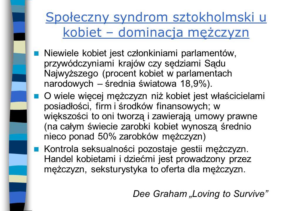 Społeczny syndrom sztokholmski u kobiet – dominacja mężczyzn Niewiele kobiet jest członkiniami parlamentów, przywódczyniami krajów czy sędziami Sądu N