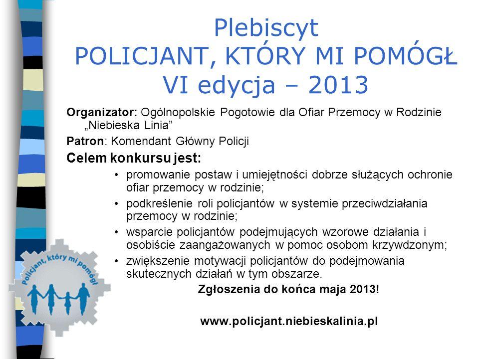 Plebiscyt POLICJANT, KTÓRY MI POMÓGŁ VI edycja – 2013 Organizator: Ogólnopolskie Pogotowie dla Ofiar Przemocy w Rodzinie Niebieska Linia Patron: Komen