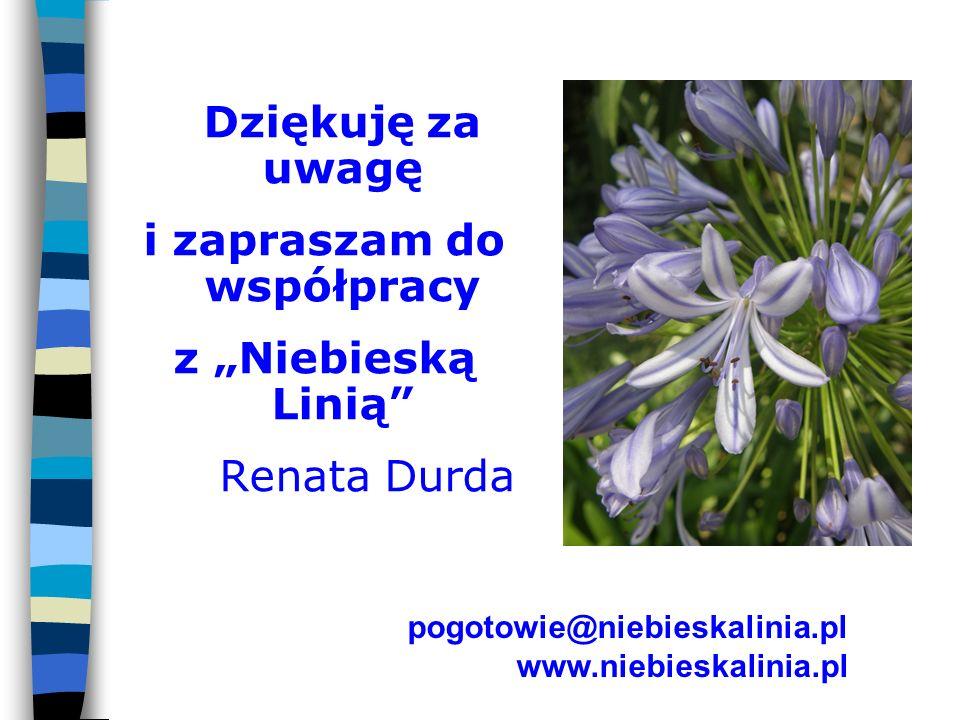 Dziękuję za uwagę i zapraszam do współpracy z Niebieską Linią Renata Durda pogotowie@niebieskalinia.pl www.niebieskalinia.pl