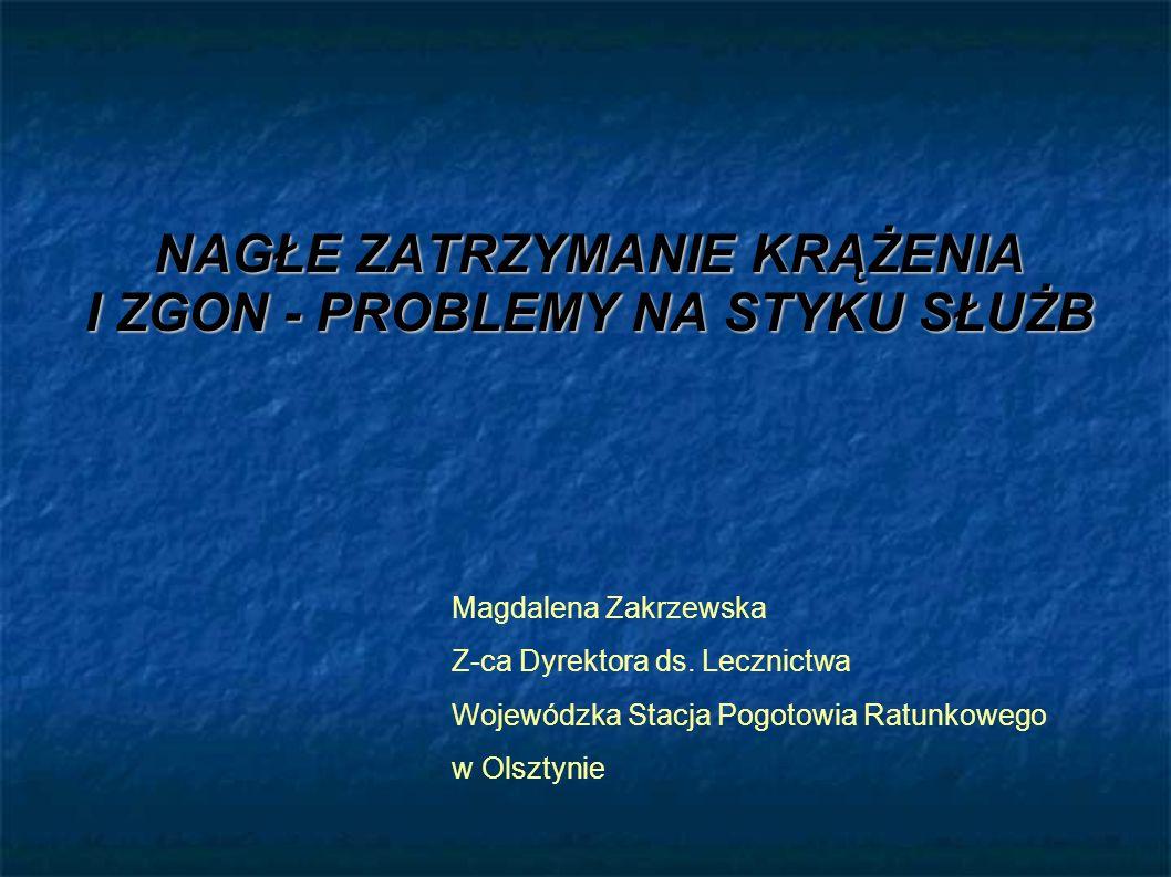 NAGŁE ZATRZYMANIE KRĄŻENIA I ZGON - PROBLEMY NA STYKU SŁUŻB Magdalena Zakrzewska Z-ca Dyrektora ds. Lecznictwa Wojewódzka Stacja Pogotowia Ratunkowego
