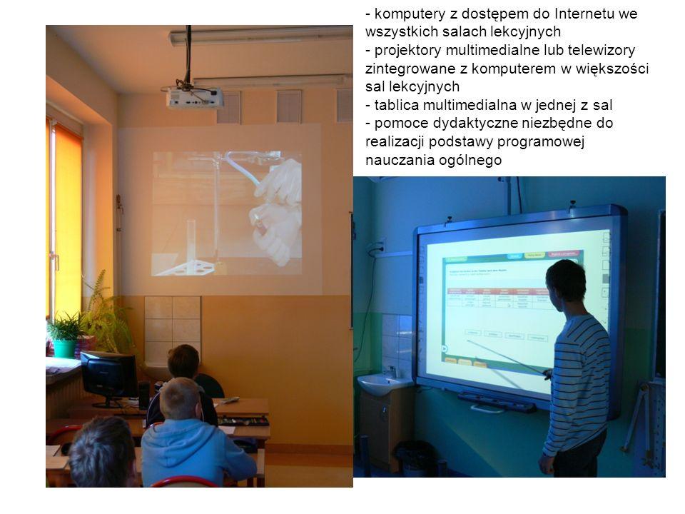 - komputery z dostępem do Internetu we wszystkich salach lekcyjnych - projektory multimedialne lub telewizory zintegrowane z komputerem w większości sal lekcyjnych - tablica multimedialna w jednej z sal - pomoce dydaktyczne niezbędne do realizacji podstawy programowej nauczania ogólnego