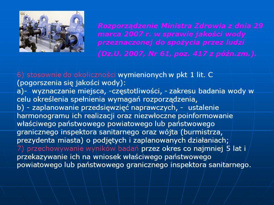 6) stosownie do okoliczności wymienionych w pkt 1 lit. C (pogorszenia się jakości wody): a)- wyznaczanie miejsca, -częstotliwości, - zakresu badania w