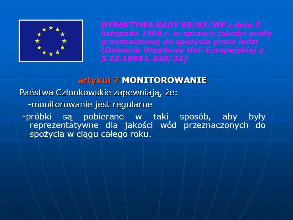 artykuł 7 MONITOROWANIE Państwa Członkowskie zapewniają, że: -monitorowanie jest regularne -monitorowanie jest regularne -p -próbki są pobierane w tak