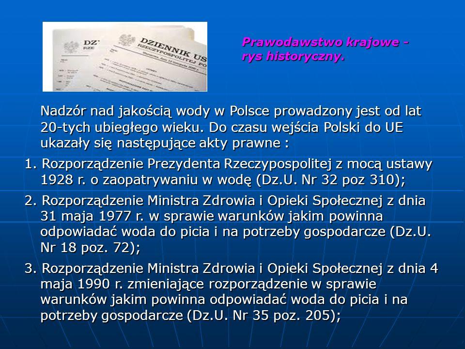 Prawodawstwo krajowe - rys historyczny. Prawodawstwo krajowe - rys historyczny. Nadzór nad jakością wody w Polsce prowadzony jest od lat 20-tych ubieg