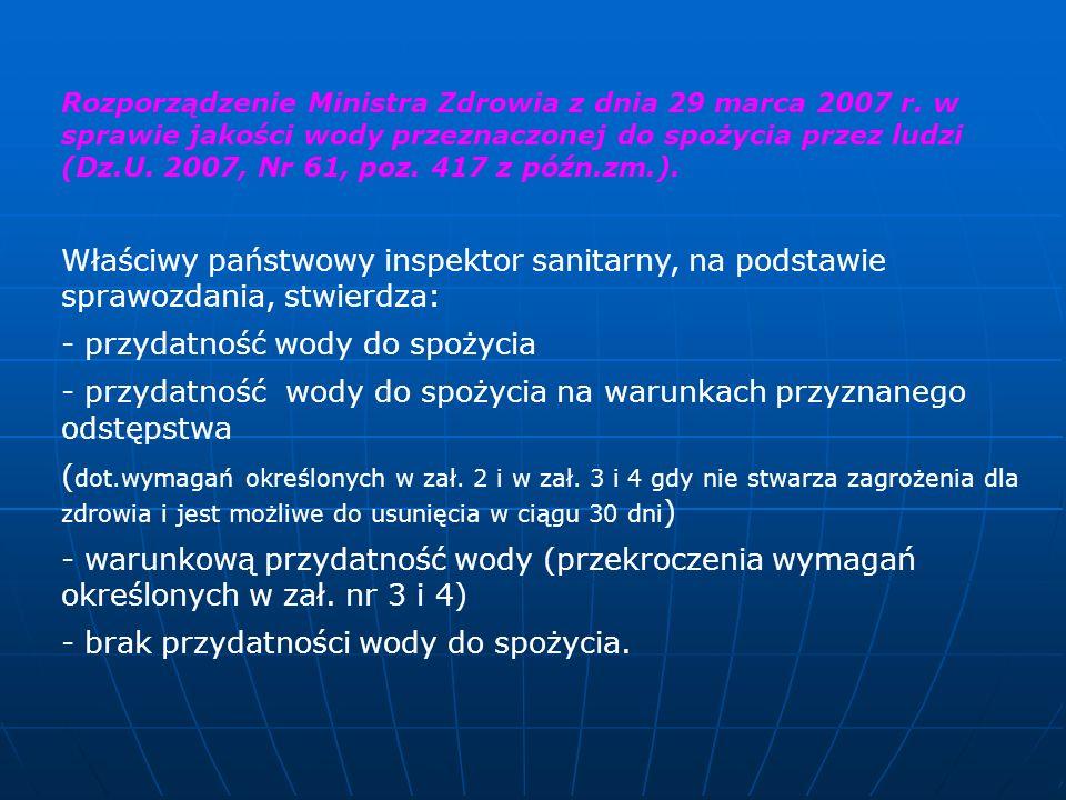 Rozporządzenie Ministra Zdrowia z dnia 29 marca 2007 r. w sprawie jakości wody przeznaczonej do spożycia przez ludzi (Dz.U. 2007, Nr 61, poz. 417 z pó