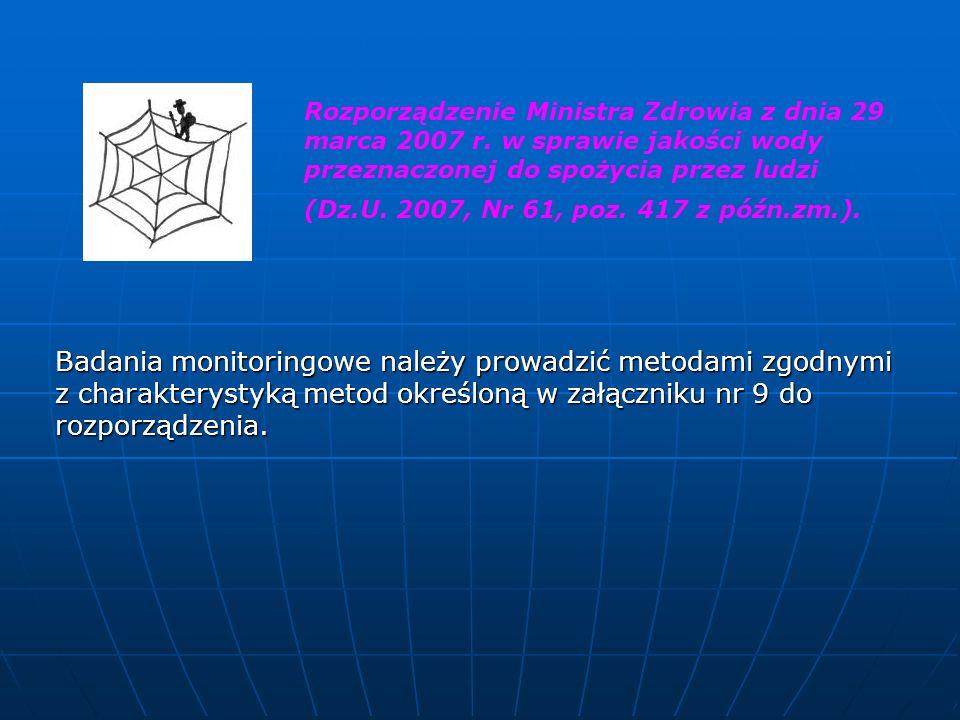 Badania monitoringowe należy prowadzić metodami zgodnymi z charakterystyką metod określoną w załączniku nr 9 do rozporządzenia. Rozporządzenie Ministr