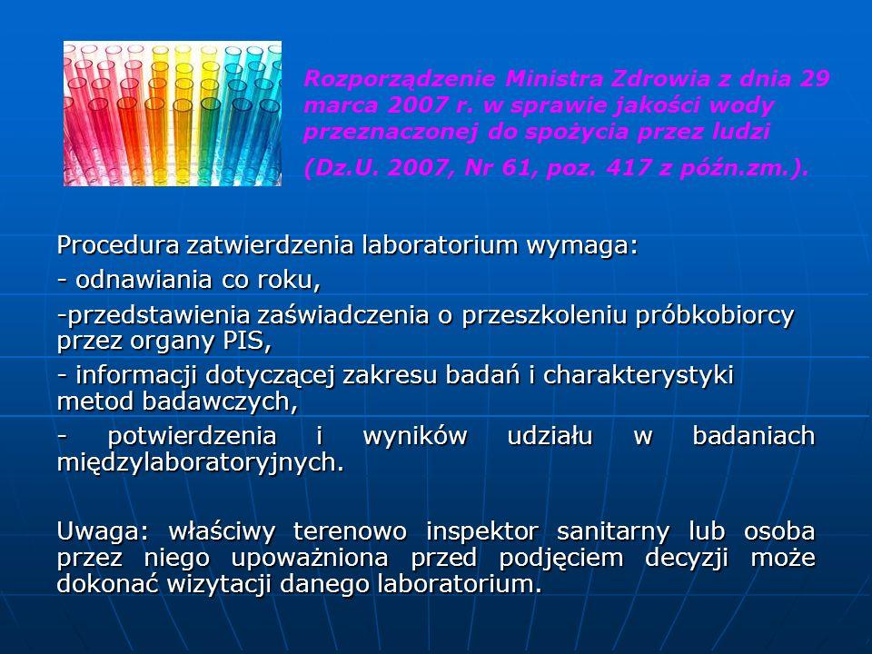 Procedura zatwierdzenia laboratorium wymaga: - odnawiania co roku, -przedstawienia zaświadczenia o przeszkoleniu próbkobiorcy przez organy PIS, - info
