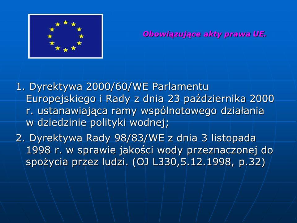 1. Dyrektywa 2000/60/WE Parlamentu Europejskiego i Rady z dnia 23 października 2000 r. ustanawiająca ramy wspólnotowego działania w dziedzinie polityk