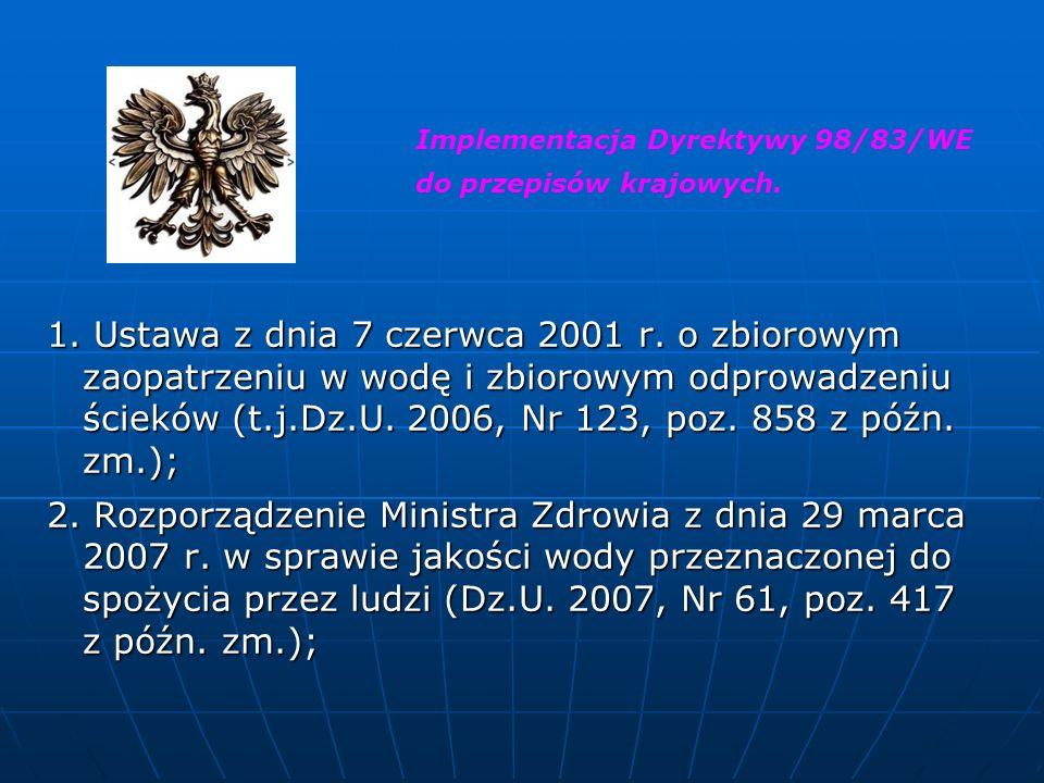 1. Ustawa z dnia 7 czerwca 2001 r. o zbiorowym zaopatrzeniu w wodę i zbiorowym odprowadzeniu ścieków (t.j.Dz.U. 2006, Nr 123, poz. 858 z późn. zm.); 2