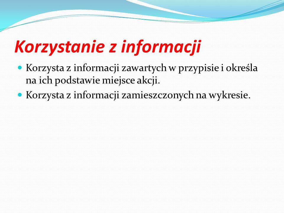 Korzystanie z informacji Korzysta z informacji zawartych w przypisie i określa na ich podstawie miejsce akcji. Korzysta z informacji zamieszczonych na