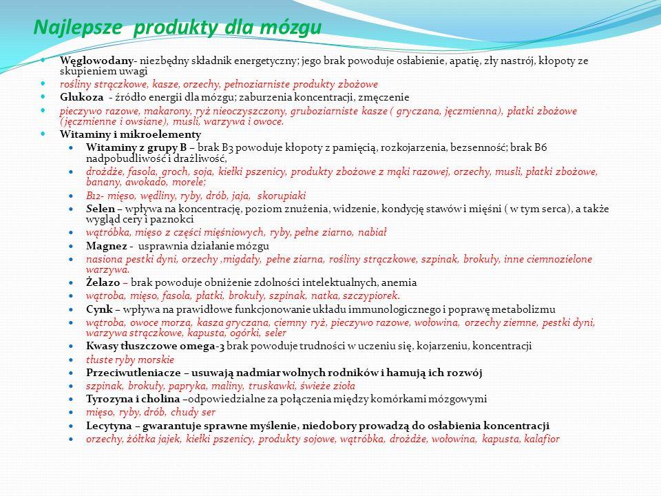 Najlepsze produkty dla mózgu Węglowodany- niezbędny składnik energetyczny; jego brak powoduje osłabienie, apatię, zły nastrój, kłopoty ze skupieniem u