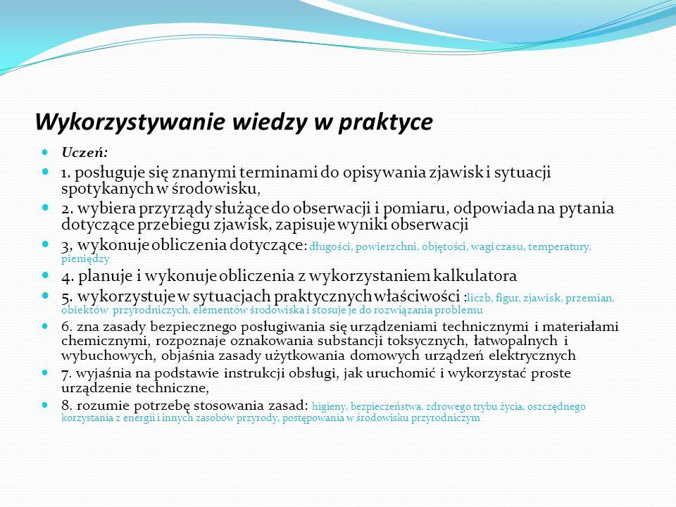 Wykorzystywanie wiedzy w praktyce Uczeń: 1. posługuje się znanymi terminami do opisywania zjawisk i sytuacji spotykanych w środowisku, 2. wybiera przy