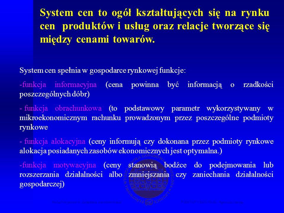 Studia Podyplomowe Zarządzanie nieruchomościamiPODSTAWY EKONOMII – Agnieszka Macuga System cen to ogół kształtujących się na rynku cen produktów i usług oraz relacje tworzące się między cenami towarów.