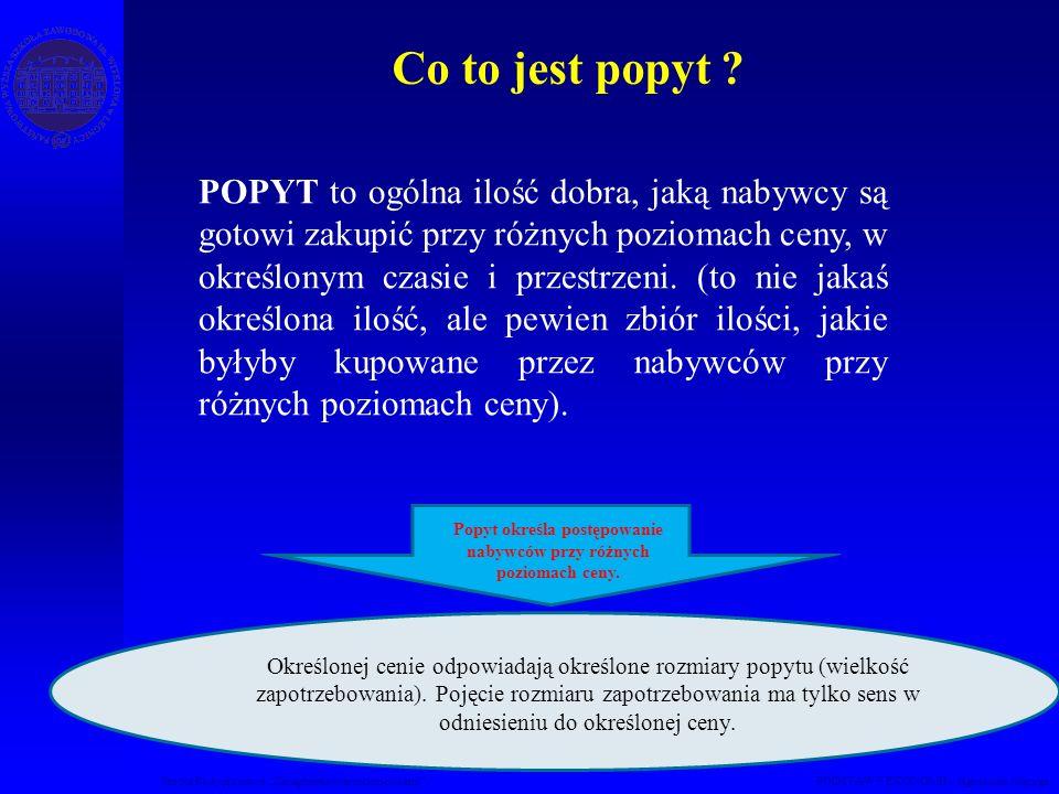 Studia Podyplomowe Zarządzanie nieruchomościami PODSTAWY EKONOMII – Agnieszka Macuga Co to jest popyt ? POPYT to ogólna ilość dobra, jaką nabywcy są g