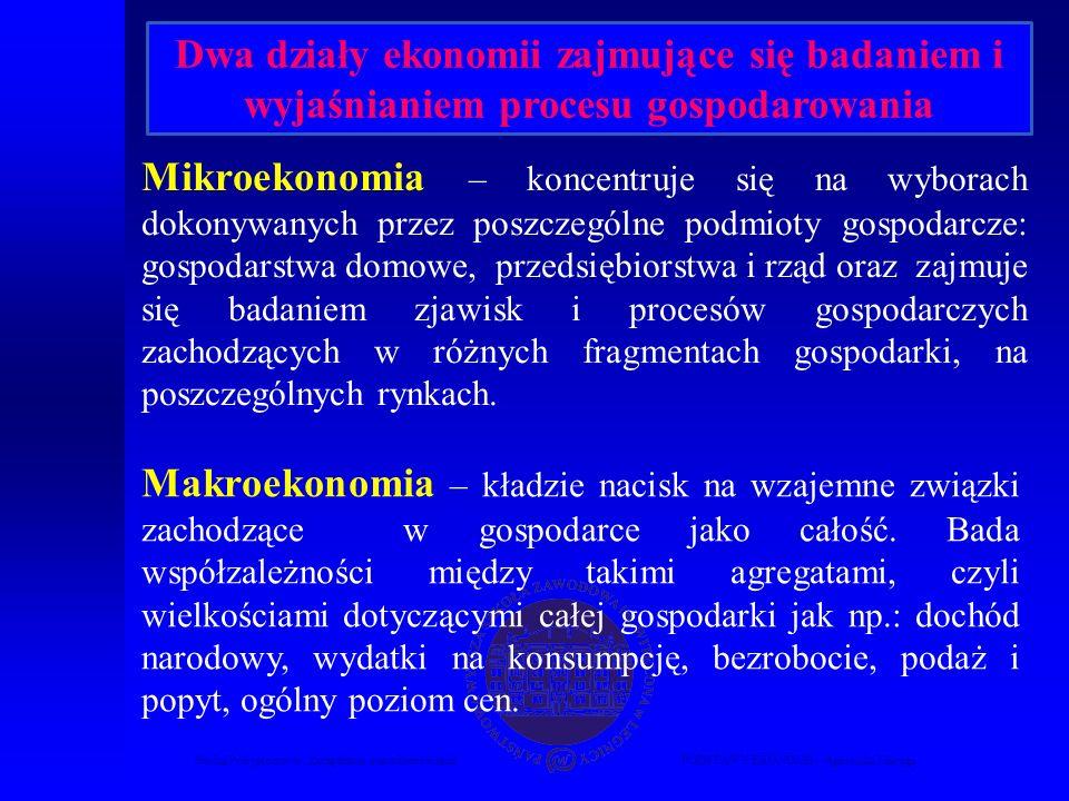Studia Podyplomowe Zarządzanie nieruchomościamiPODSTAWY EKONOMII – Agnieszka Macuga Mikroekonomia – koncentruje się na wyborach dokonywanych przez pos