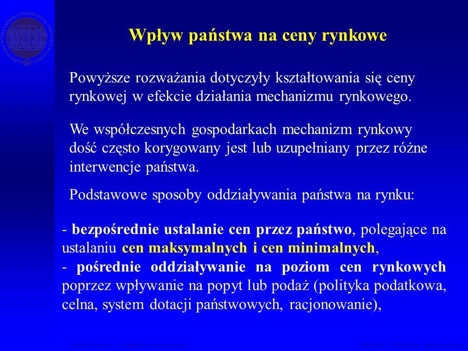 Studia Podyplomowe Zarządzanie nieruchomościami PODSTAWY EKONOMII – Agnieszka Macuga Powyższe rozważania dotyczyły kształtowania się ceny rynkowej w efekcie działania mechanizmu rynkowego.