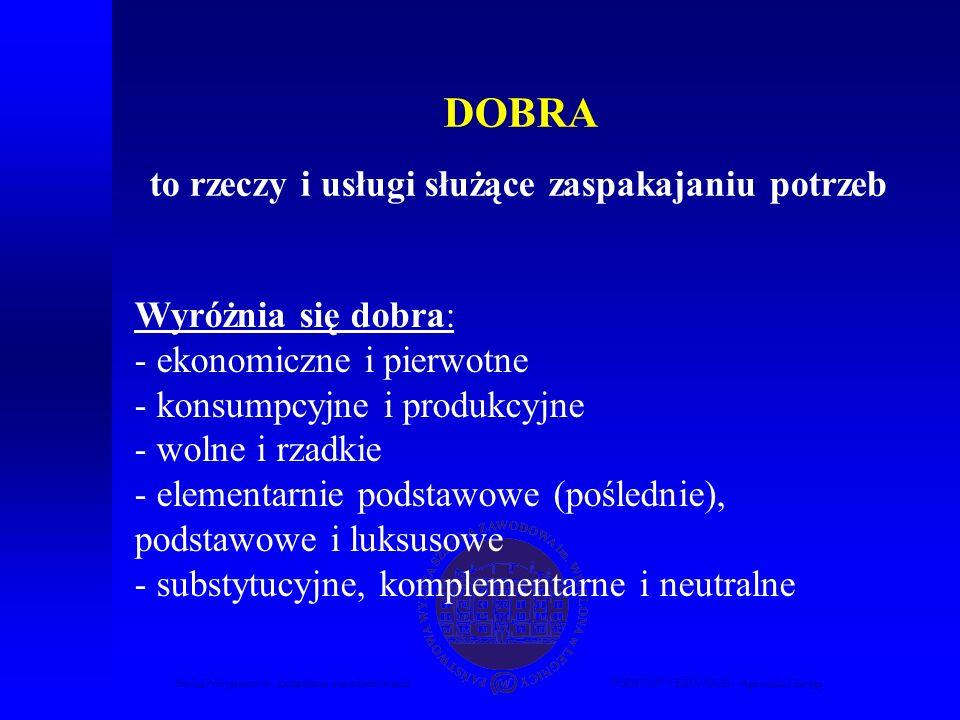 Studia Podyplomowe Zarządzanie nieruchomościamiPODSTAWY EKONOMII – Agnieszka Macuga DOBRA to rzeczy i usługi służące zaspakajaniu potrzeb Wyróżnia się