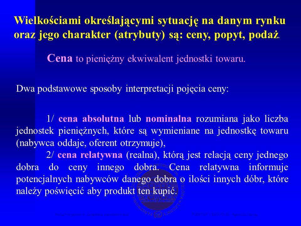 Studia Podyplomowe Zarządzanie nieruchomościamiPODSTAWY EKONOMII – Agnieszka Macuga Wielkościami określającymi sytuację na danym rynku oraz jego charakter (atrybuty) są: ceny, popyt, podaż.