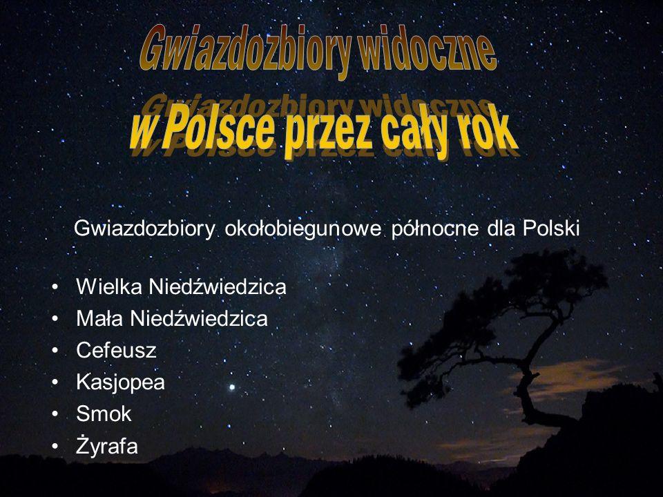 Gwiazdozbiory okołobiegunowe północne dla Polski Wielka Niedźwiedzica Mała Niedźwiedzica Cefeusz Kasjopea Smok Żyrafa