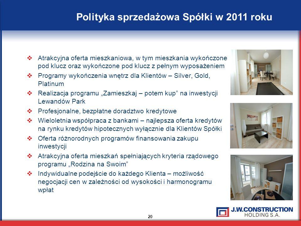 20 Polityka sprzedażowa Spółki w 2011 roku Atrakcyjna oferta mieszkaniowa, w tym mieszkania wykończone pod klucz oraz wykończone pod klucz z pełnym wyposażeniem Programy wykończenia wnętrz dla Klientów – Silver, Gold, Platinum Realizacja programu Zamieszkaj – potem kup na inwestycji Lewandów Park Profesjonalne, bezpłatne doradztwo kredytowe Wieloletnia współpraca z bankami – najlepsza oferta kredytów na rynku kredytów hipotecznych wyłącznie dla Klientów Spółki Oferta różnorodnych programów finansowania zakupu inwestycji Atrakcyjna oferta mieszkań spełniających kryteria rządowego programu Rodzina na Swoim Indywidualne podejście do każdego Klienta – możliwość negocjacji cen w zależności od wysokości i harmonogramu wpłat