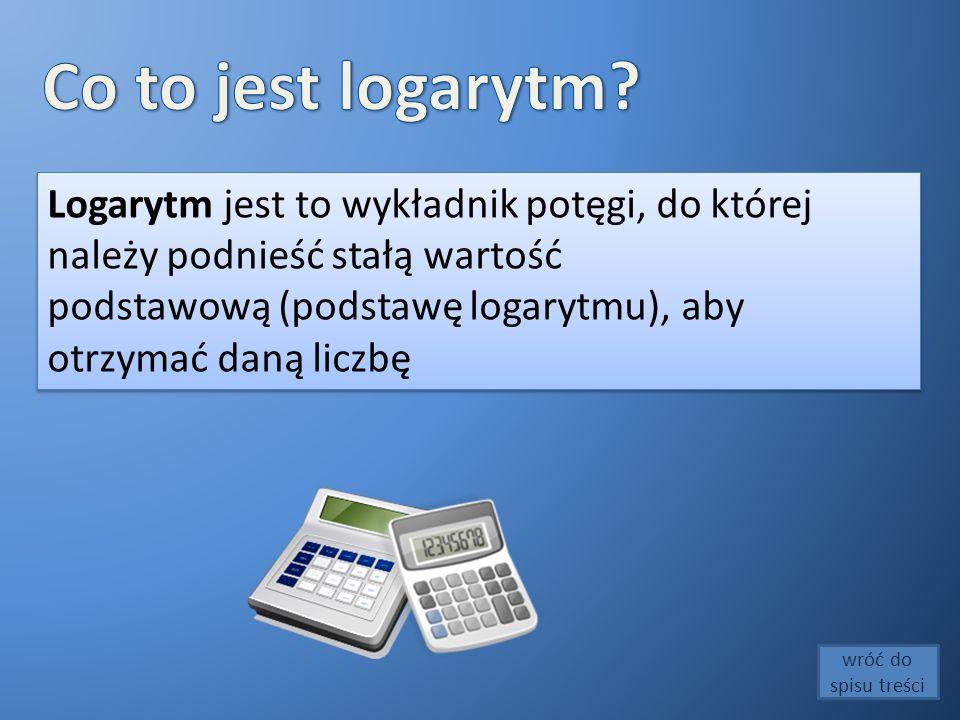 Logarytm jest to wykładnik potęgi, do której należy podnieść stałą wartość podstawową (podstawę logarytmu), aby otrzymać daną liczbę Logarytm jest to wykładnik potęgi, do której należy podnieść stałą wartość podstawową (podstawę logarytmu), aby otrzymać daną liczbę wróć do spisu treści