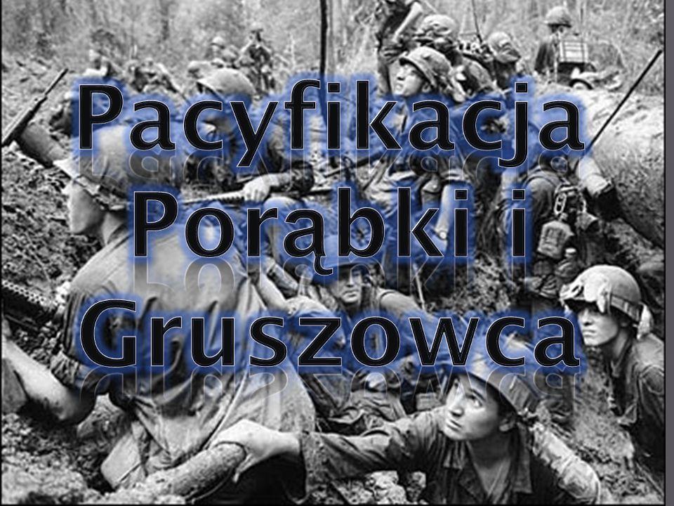 Pacyfikacja - Ekspedycja karna okupanta na określonym terytorium, której celem jest masakra ludności cywilnej; stosowana na szeroką skalę na ziemiach polskich przez okupanta niemieckiego w latach 1939- 1945.
