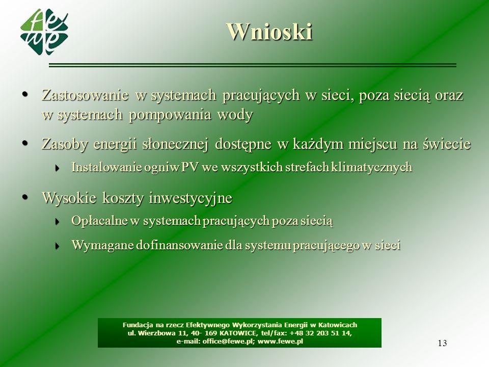 13Wnioski Fundacja na rzecz Efektywnego Wykorzystania Energii w Katowicach ul. Wierzbowa 11, 40- 169 KATOWICE, tel/fax: +48 32 203 51 14, e-mail: offi