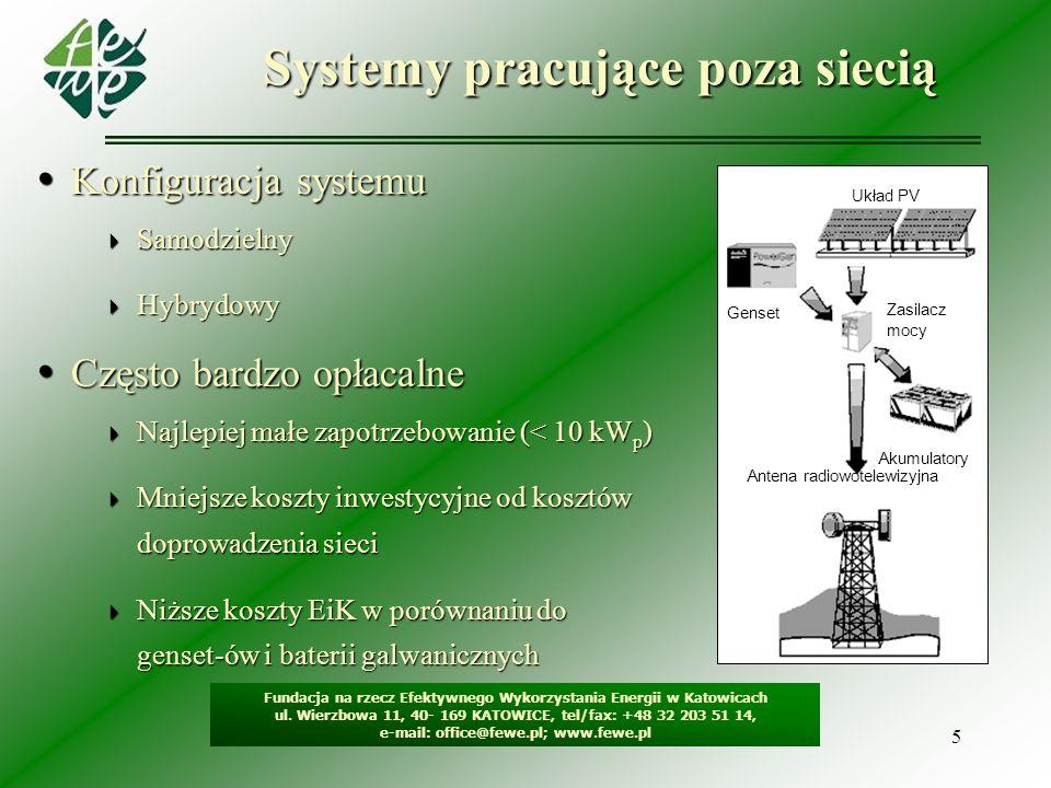 5 Systemy pracujące poza siecią Fundacja na rzecz Efektywnego Wykorzystania Energii w Katowicach ul. Wierzbowa 11, 40- 169 KATOWICE, tel/fax: +48 32 2