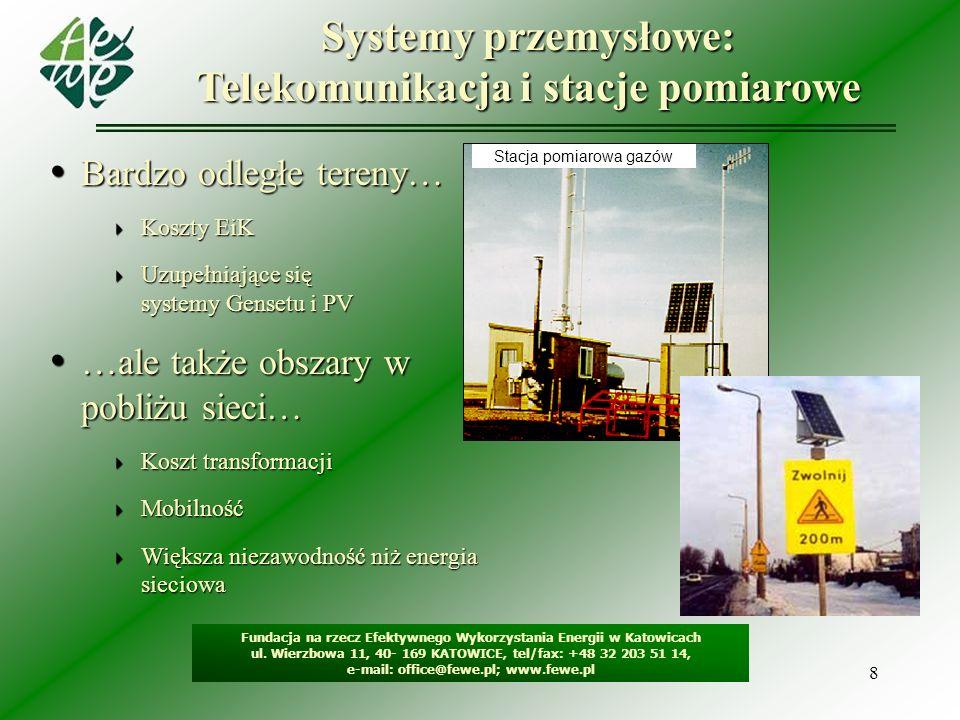 8 Systemy przemysłowe: Telekomunikacja i stacje pomiarowe Fundacja na rzecz Efektywnego Wykorzystania Energii w Katowicach ul. Wierzbowa 11, 40- 169 K
