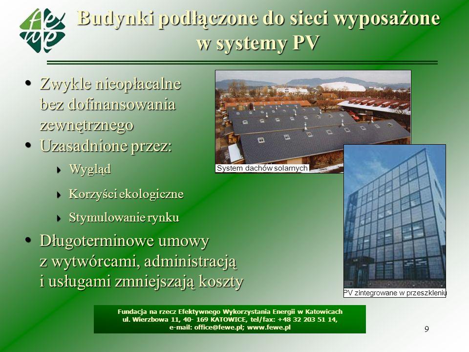 9 Budynki podłączone do sieci wyposażone w systemy PV Fundacja na rzecz Efektywnego Wykorzystania Energii w Katowicach ul. Wierzbowa 11, 40- 169 KATOW