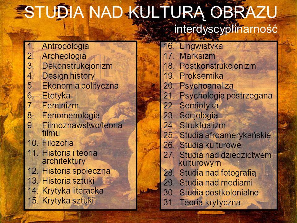 STUDIA NAD KULTURĄ OBRAZU interdyscyplinarność 1.Antropologia 2.Archeologia 3.Dekonstrukcjonizm 4.Design history 5.Ekonomia polityczna 6.Etetyka 7.Fem
