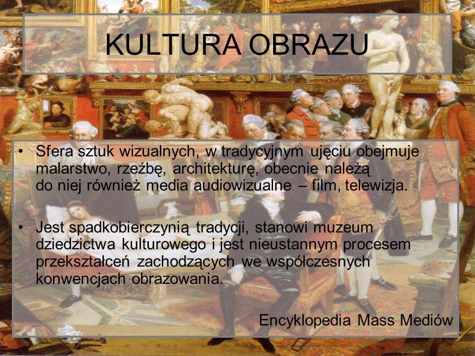 KULTURA OBRAZU Sfera sztuk wizualnych, w tradycyjnym ujęciu obejmuje malarstwo, rzeźbę, architekturę, obecnie należą do niej również media audiowizual
