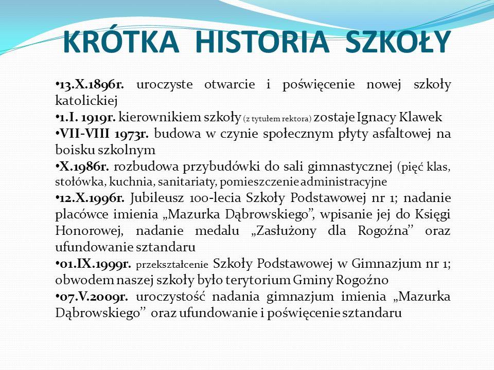 KRÓTKA HISTORIA SZKOŁY 13.X.1896r.uroczyste otwarcie i poświęcenie nowej szkoły katolickiej 1.I.