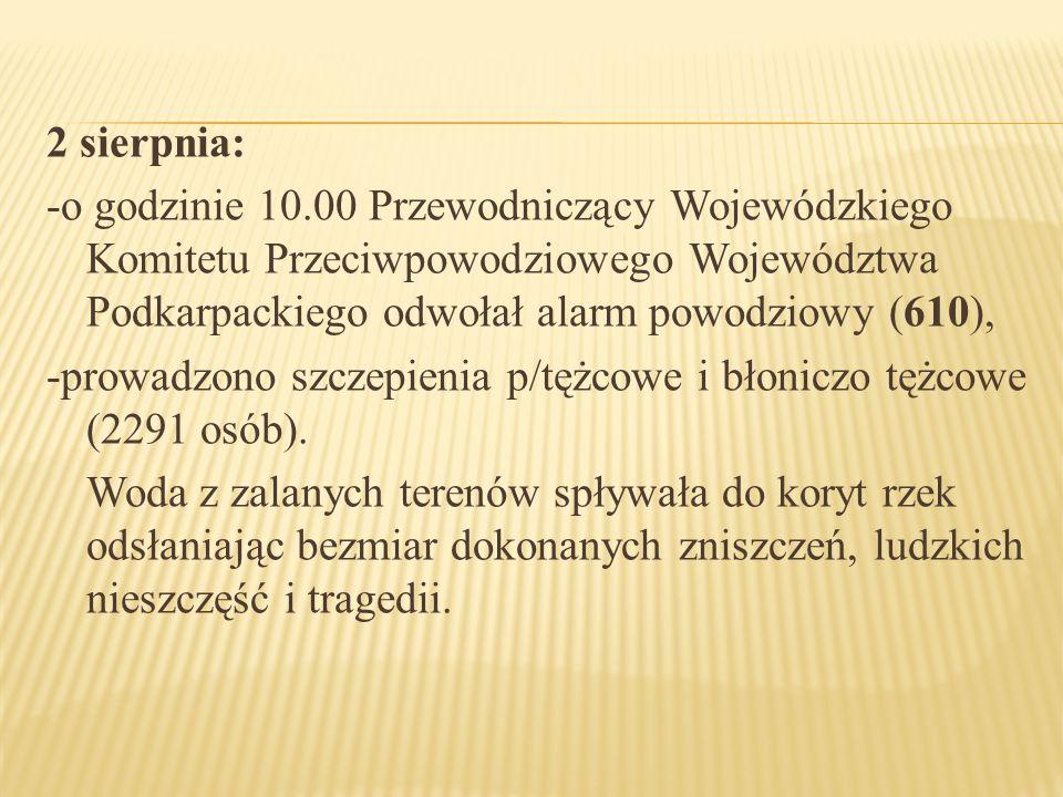 2 sierpnia: -o godzinie 10.00 Przewodniczący Wojewódzkiego Komitetu Przeciwpowodziowego Województwa Podkarpackiego odwołał alarm powodziowy (610), -pr