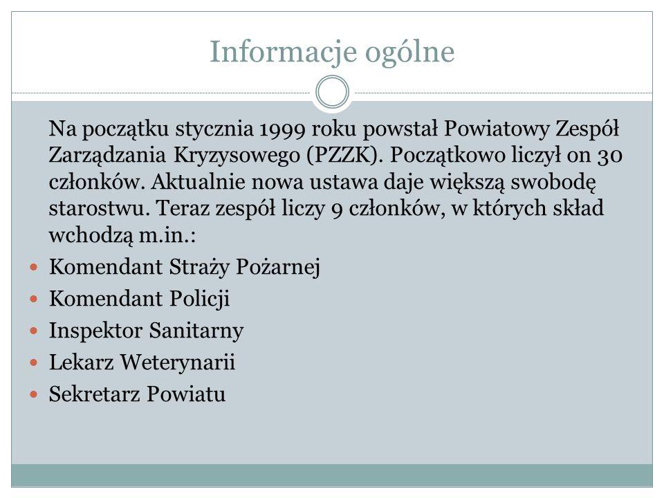 Informacje ogólne Na początku stycznia 1999 roku powstał Powiatowy Zespół Zarządzania Kryzysowego (PZZK). Początkowo liczył on 30 członków. Aktualnie