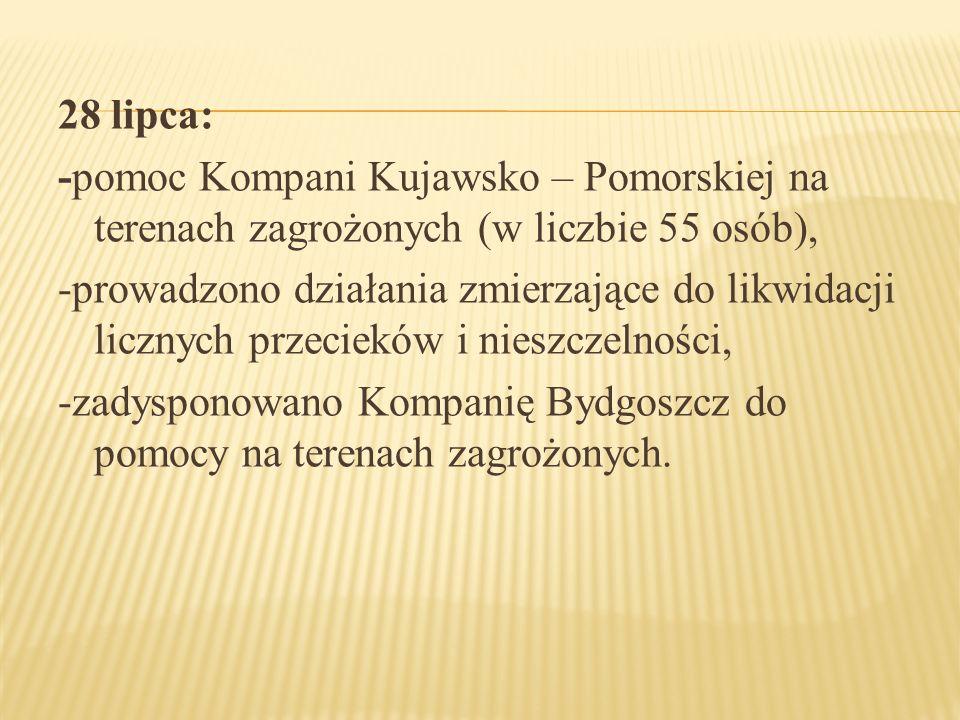 28 lipca: -pomoc Kompani Kujawsko – Pomorskiej na terenach zagrożonych (w liczbie 55 osób), -prowadzono działania zmierzające do likwidacji licznych p
