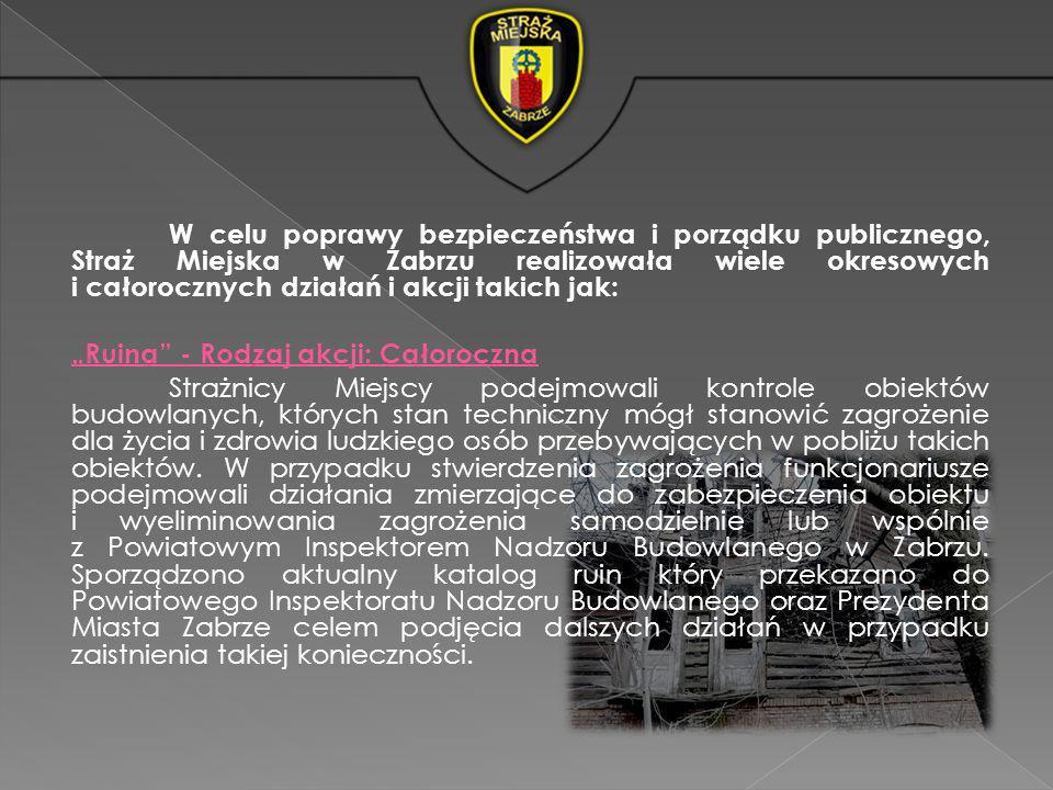 W celu poprawy bezpieczeństwa i porządku publicznego, Straż Miejska w Zabrzu realizowała wiele okresowych i całorocznych działań i akcji takich jak: R