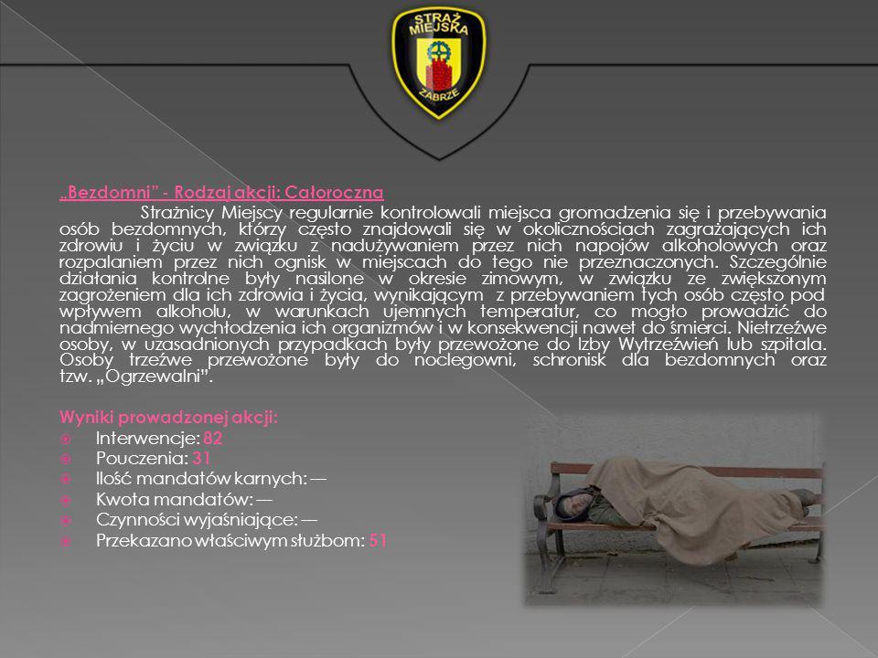 Bezdomni - Rodzaj akcji: Całoroczna Strażnicy Miejscy regularnie kontrolowali miejsca gromadzenia się i przebywania osób bezdomnych, którzy często zna