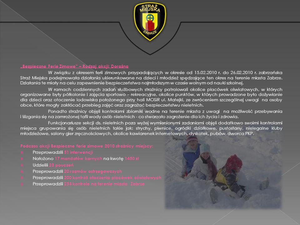 Bezpieczne Ferie Zimowe – Rodzaj akcji: Doraźna W związku z okresem ferii zimowych przypadających w okresie od 15.02.2010 r. do 26.02.2010 r. zabrzańs