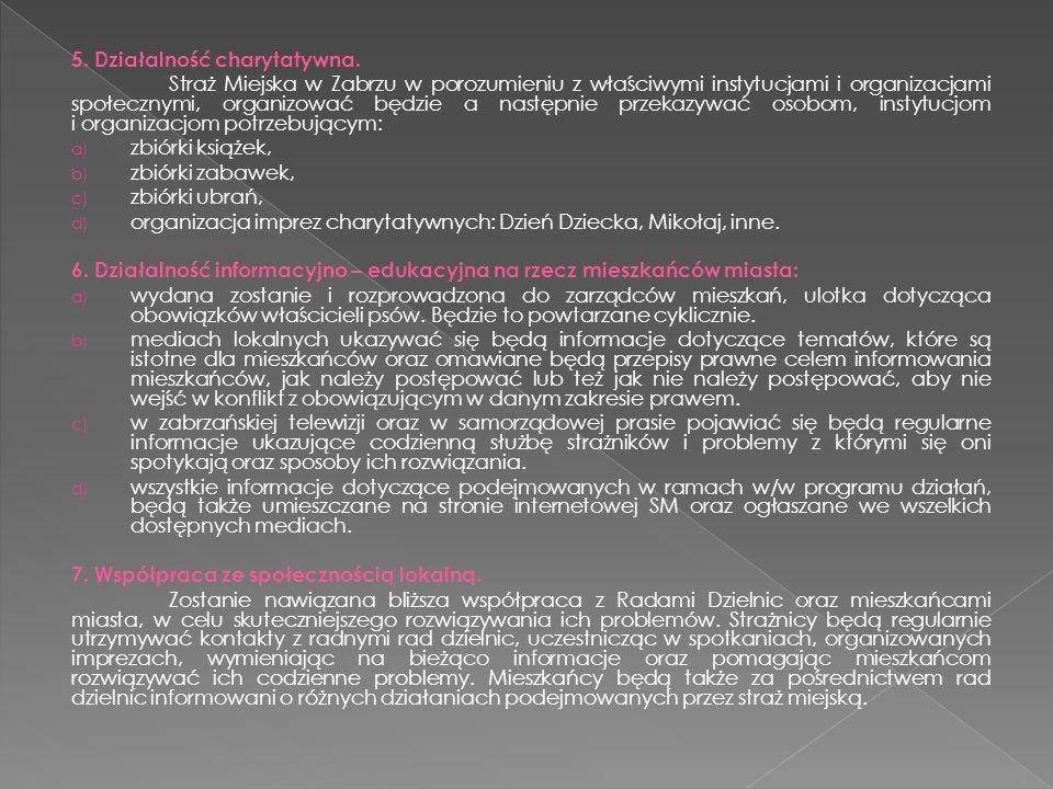 5. Działalność charytatywna. Straż Miejska w Zabrzu w porozumieniu z właściwymi instytucjami i organizacjami społecznymi, organizować będzie a następn