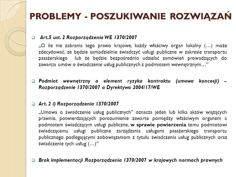 PROBLEMY - POSZUKIWANIE ROZWIĄZAŃ Art.5 ust.