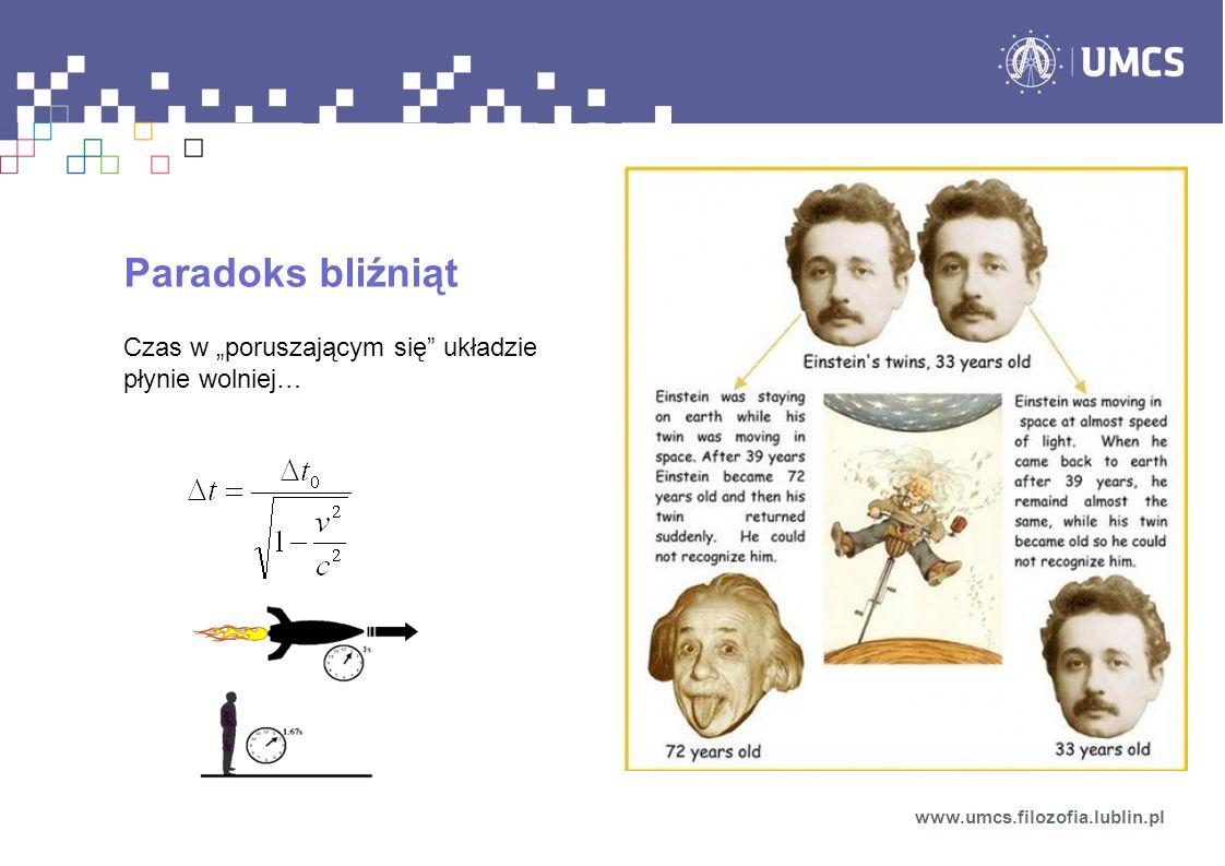 Paradoks bliźniąt Czas w poruszającym się układzie płynie wolniej… www.umcs.filozofia.lublin.pl