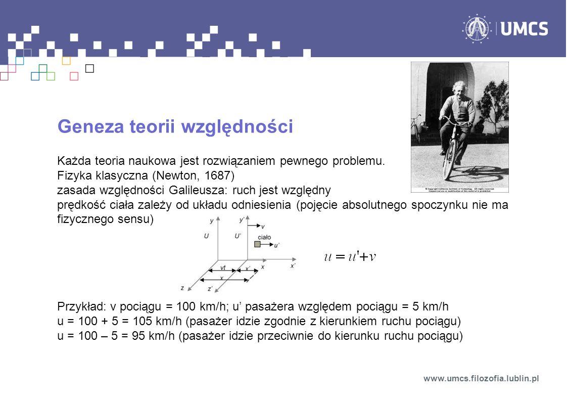 Geneza teorii względności Każda teoria naukowa jest rozwiązaniem pewnego problemu. Fizyka klasyczna (Newton, 1687) zasada względności Galileusza: ruch