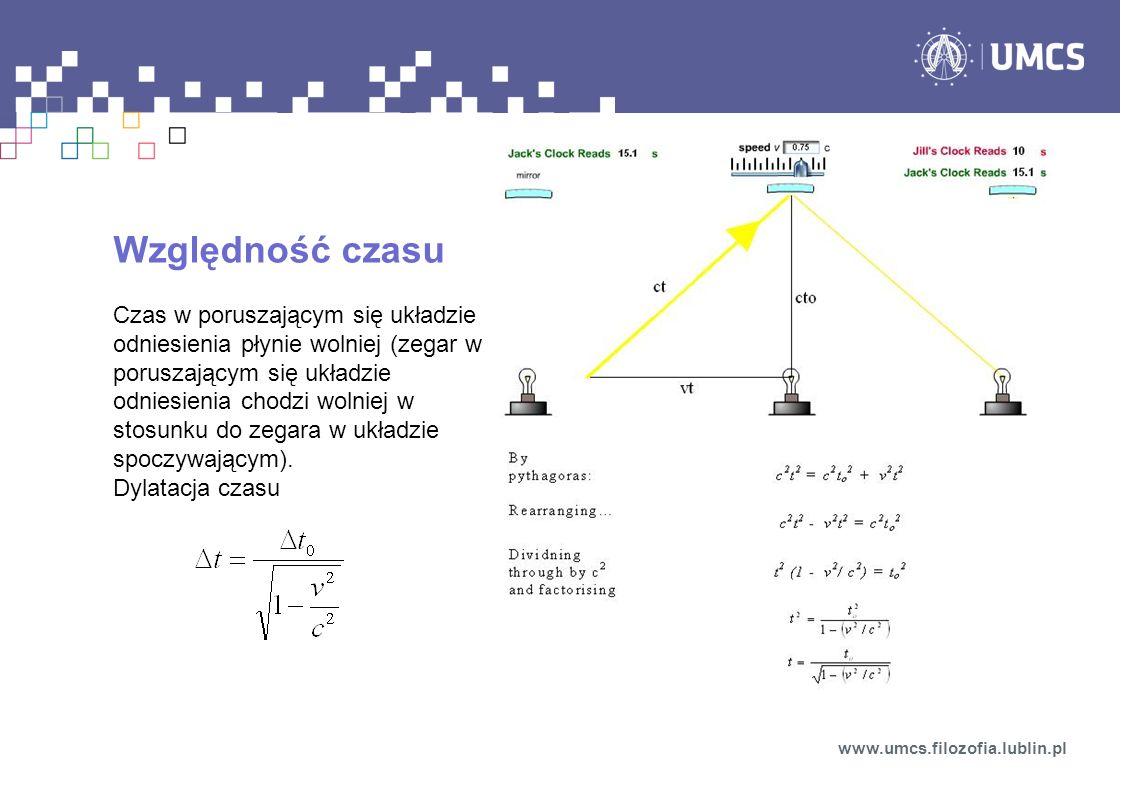 Względność czasu Czas w poruszającym się układzie odniesienia płynie wolniej (zegar w poruszającym się układzie odniesienia chodzi wolniej w stosunku